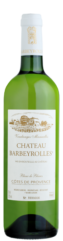a green wine bottle of le blanc de blancs, organic white wine of barbeyrolles vineyard in France