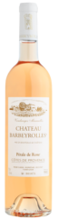 a pink wine bottle with white cap of le pétale de rose, organic rosé wine of barbeyrolles vineyard, france